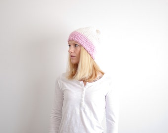RTS - chunky knit hat womens slouchy hat beanie color block hat - fisherman/blossom - the LENOIR