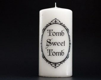 Halloween Candle - Tomb Sweet Tomb - Pillar Candle - Goth Candle