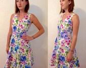 hand made VTG floral a-line button down dress