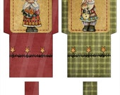 Digital Tea Wrappers Primitive Folk Art Design