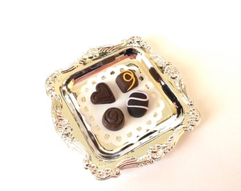 "Fancy Assorted Chocolates w/doily on Silver Tray for an 18"" doll and her American girl"