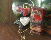 Valentines Day ornament - Heart ornament - Seashell ornament - wedding favor - red - white