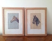 Mid Century Horse Equestrian Drawings, Original Horse Art Home Decor,  Horse Sketches Drawn in 1949, Gift for Daughter Son, Horse