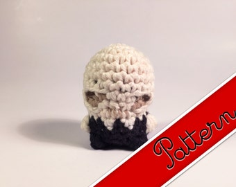 """PDF Pattern for Crocheted The Silence from Doctor Who Kawaii Keychain Miniature Doll """"Pod People"""""""