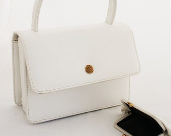 Purse - Small White Box Free Standing Handbag with matching coin purse