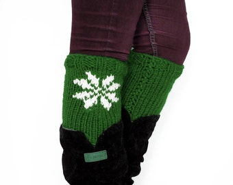 Knit Boot Cuffs Snow, Women's Boot Cuffs, snowflake Knit Boot Toppers, Snow Leg Warmers, Knitted Accessory, Green Boot Cuffs, Chunky Knits