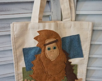 Big Foot Canvas Tote Handmade Sasquatch Bag