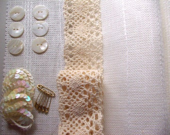 Linen Inspiration Pack,Sewing,Patchwork Quilt Kit,Burlap and Lace Card Kit,Waldorf,Art Doll,Goddess,Muse,Scrapbooking DIY,Linen,Lace