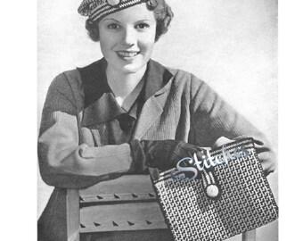 1930s Basketweave Hat and Bag Set - 2 Crochet patterns PDF 3717
