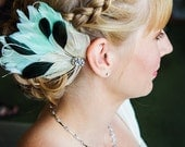 JOLIE Ivory, Mint, Black, and White Peacock Feather and Crystal Veil Hair Clip, Feather Fascinator, Bridal Hair Piece
