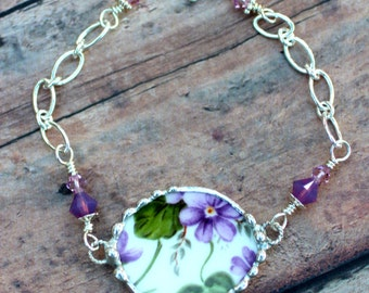 Broken China Jewelry Bracelet Purple Violet Chintz Sterling Silver Chain