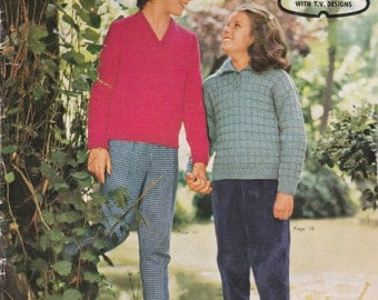 Paton's Knitting Pattern No 646 for Girls Wear  Jumpers and Cardigans age 7 to 16 years - Vintage 1960s