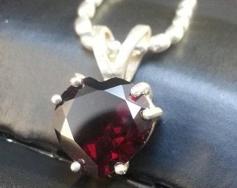 Sterling Silver Large Garnet Stone Heart Pendant Choker by Habilis Jewelry