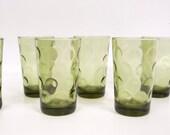 Vintage Hazel Atlas Juice Glasses Eldorado Coin Dot Avocado Green Tumblers Olive Green Barware Set of 6