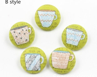 Linen Fabric Covered Bottons Set, High Quantity, Coffee Cup Style,DIY Bottons,Circle-(5 in a set) (GB24)