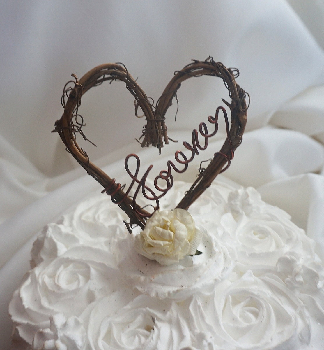 Rustic Winter Wedding Cake Topper Country Chic Forever