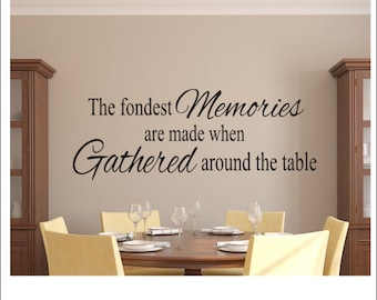 The Fondest Memories Decal Vinyl Wall Kitchen Dining Room Housewares Gathered Around Table