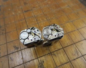 Gruen Watch Movement Cufflinks. Great for Fathers Day, Anniversary, Groomsmen or Just Because.  #265