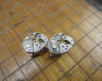 Elgin 832 Watch Movement Cufflinks. Great for Fathers Day, Anniversary, Groomsmen or Just Because.  #378