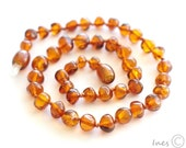 Baltic amber baby teething necklace cognac rounded amber beads