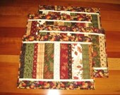 Quilted Fall Placemats, Strip Pieced, Set of 4