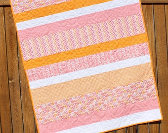 Pink Baby Girl Quilt, Baby Quilt, Pink Orange White, Chevron, From Bump To Baby, Crib Quilt, Toddler Quilt, Handmade Bedding, Modern Quilt