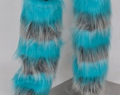 Movie Cheshire Cat Leg Fluffies! TEAL & SILVER Fluffies, Furry Legwarmers - for raves, cosplay, fur outfits, costumes