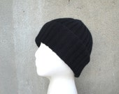 Knit Cashmere Hat, Black, Beanie Watch Cap, Luxury, Gift for Him or Her