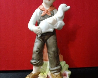 Vintage 70s Norleans Handpainted Porcelain Figurine ~ Boy in overalls with Dog