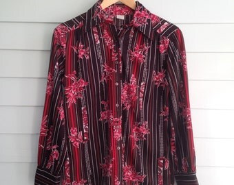 Vintage Polyester Blouse, Brown Pink and Red Shirt, Long Sleeve 1970s Blouse, Groovy Floral Shirt, Hawaiian Blouse, Bust 38