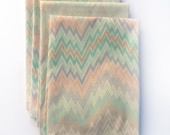 Cloth Napkins - Vintage Chevron Cloth Napkins- Set of 4- Limited Edition- SALE- Free Shipping