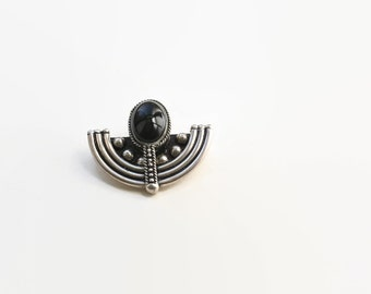 Vintage Boho Sterling Silver and Onyx Brooch- 1980's
