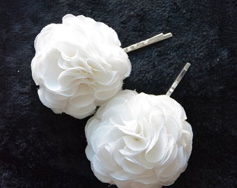 White Bridal Flower Hair Pin, Ivory Hair Flower for Wedding, Ivory, Wedding Accessory, set of 2, Bridal Hair Clips, Bridesmaid
