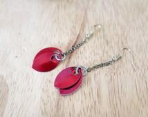 SALE Fire Warriors Promise scale maille chandelier earrings