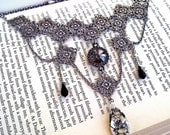 Black Gothic Choker Necklace Gothic Bridal Swarovski Crystal Necklace Victorian Gothic Jewelry Necklace