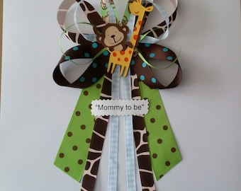 Blue JUNGLE theme Monkey and Giraffe baby shower pin/corsage
