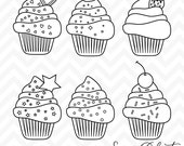 80% OFF Sale Clipart Birthday Cupcakes Digital Stamp Line Art Instant Download Commercial Use Clip Art