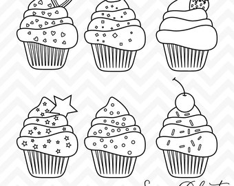 80% OFF Sale Cupcake Clipart, Digital Stamps, Line Art, Cupcake Clip Art, Birthday Clipart, Digital Cupcakes, Birthday Cupcakes