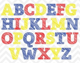 Digital Scribble Alphabet Primary Color Letters Clip Art