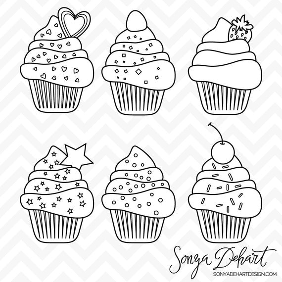 Birthday Cupcake Clip Art Black And White - fedinvestonline