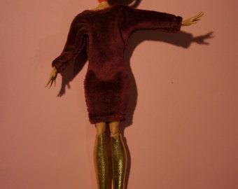 Monster High clothes bloodred velvet flapperdress and golden boots