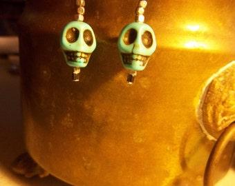 Skull Turquoise & Silver Earrings