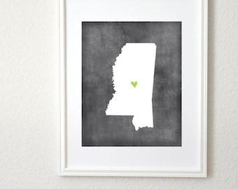 Mississippi Chalkboard State Map Customizable Personalized Map Art 8x10 Print