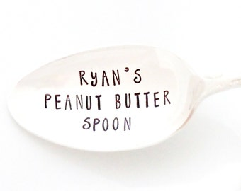 Custom Name Peanut Butter Spoon. Stamped Spoon for PB Lovers by Milk & Honey ® Personalized Peanut Butter Spoon.