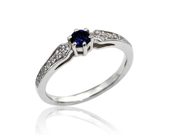 Sapphire Ring, Sapphire and Diamond Ring, Delicate Art Nouveau Sapphire Ring, Engagement Ring, Sapphire Ring, Unique, Fast  Free Shipping