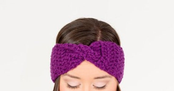 SALE--Plum Crochet Turban Twist Headband / Chunky Knit Ear Warmer, Handmade Crocheted Knitwear, Women's Knitted Cozy Winter Accessory