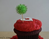 Light Bright Green Glitter Pom Pom Cupcake Toppers. 20 Pieces.