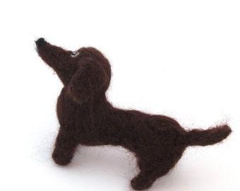 Needle felted dachshund, chocolate brown felt dog, wool miniature pet doxie