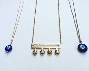Eye've Got An Eye on You Evil Eye Necklace -- blue glass evil eye pendant & reclaimed chain necklace