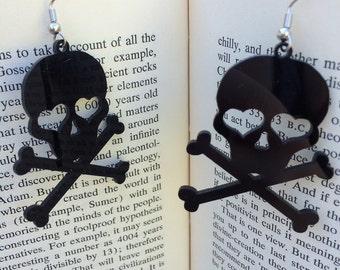 SALE Black Skull & Crossbones Dangle Earrings